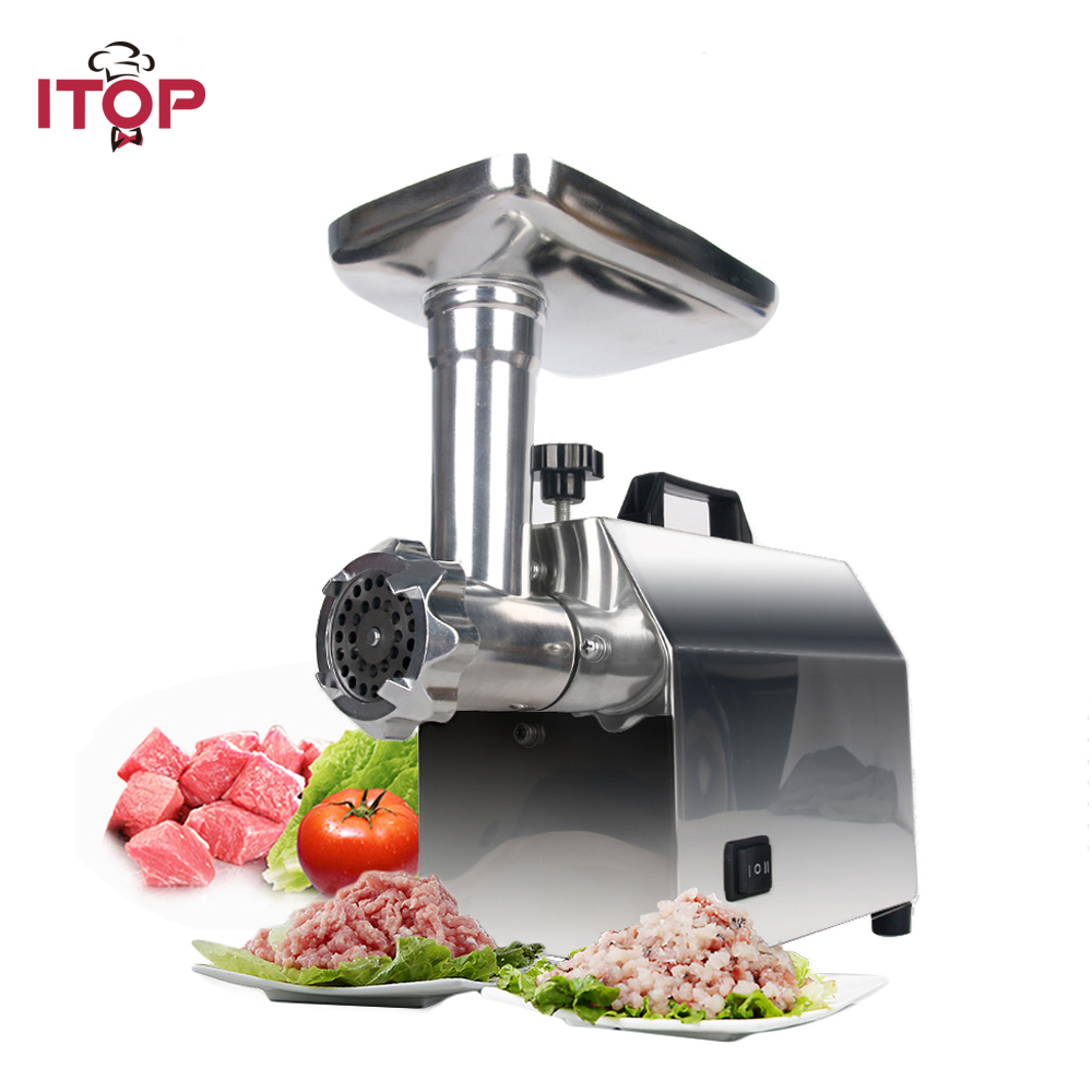 ITOP Electric Meat Grinder Stainless Steel Mincer with Sausage Stuffing Tubes Household Food Grinding Mincing Machine, 1200W new commercial meat grinder hc 800 household electric machine cut chilli ground food dumpling stuffing broken 220v 800w hot sale