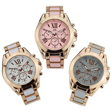 Hot fashion two tone casual watch analog quartz ladies geneva roman watch brand bracelet wristwatch women relojes deportivos