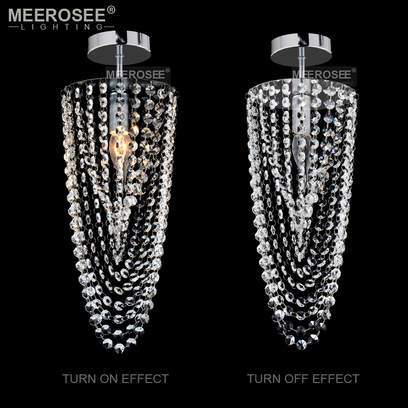 Luxurious Crystal Chandelier Small Clear Crystal Lustres 1 Lights Crystal Light Fixture for Aisle Stair Hallway Corridor Porch