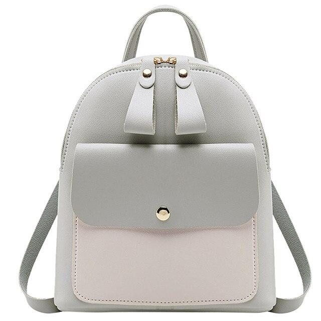 5345f5fe9a0b US $8.26 |2019 Women Leather Backpack Children Backpack Mini Backpack Women  Cute Panelled Backpacks for Teenage Girls Small Bag Bookbag-in Backpacks ...