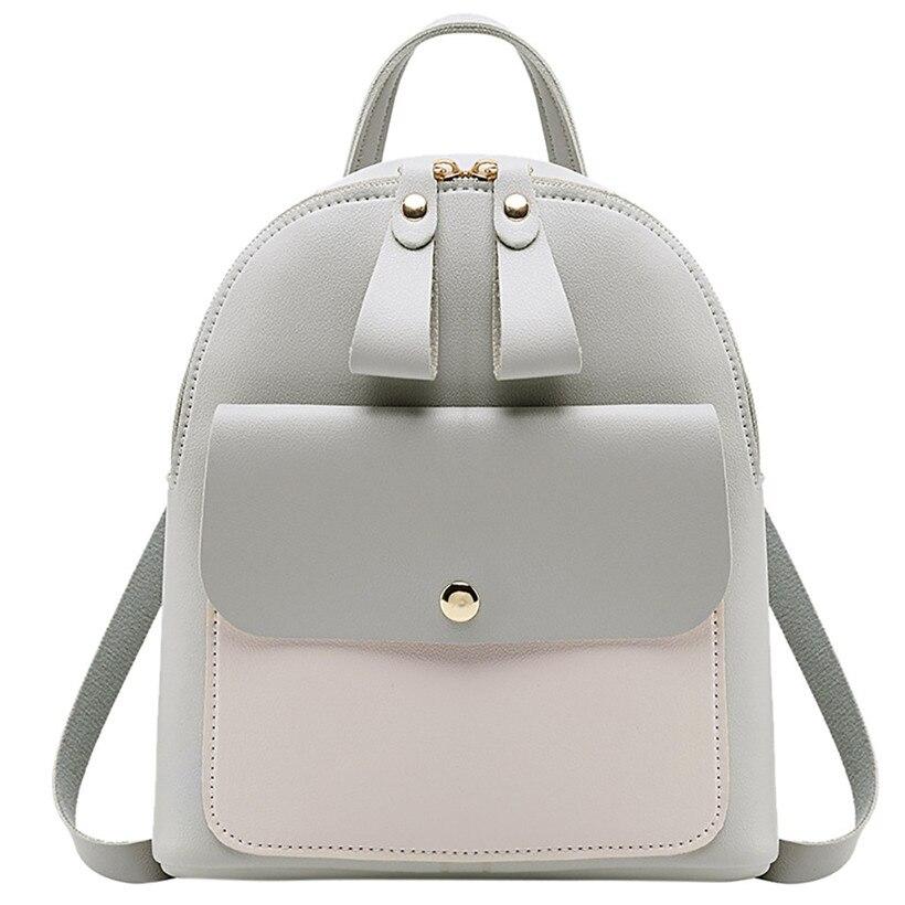 2020 Women Leather Backpack Children Backpack Mini Backpack Women Cute Panelled Backpacks For Teenage Girls Small Bag Bookbag