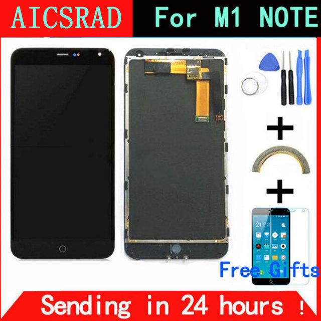 "AICSRAD For Meizu M1 Note touch screen Digitizer +LCD Display For Meizu M1 Note 5.5"" Cellphone Black Color Free Shipping"