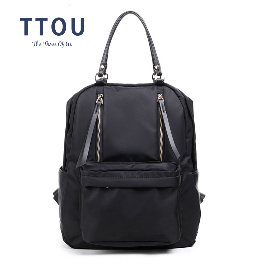 TTOU Women Nylon Backpack Student Solid School Bag Fashion Travel Rucksack Large Backpack For Women Preppy Style