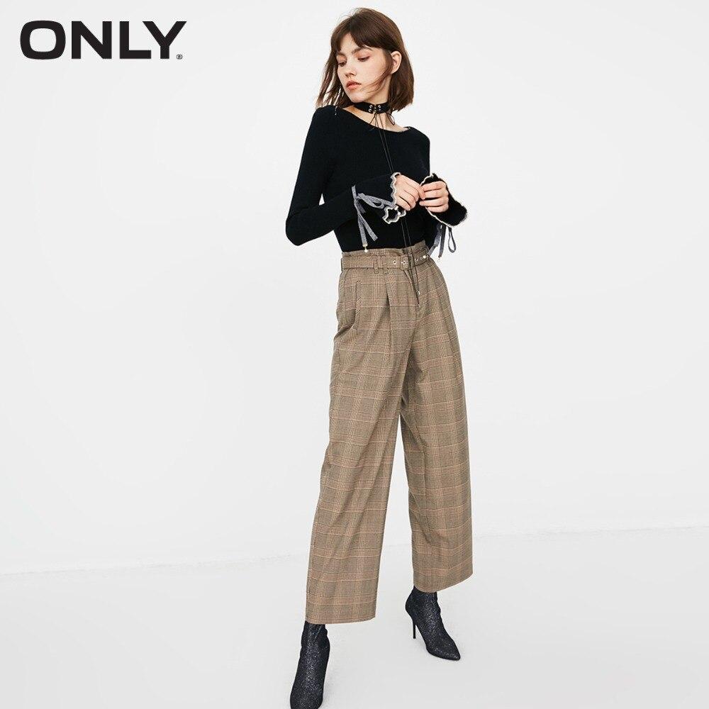 ONLY  Womens' Autumn New High Waist Plaid Casual Pants Side Pockets Zip Placket Plaid Design|118314505