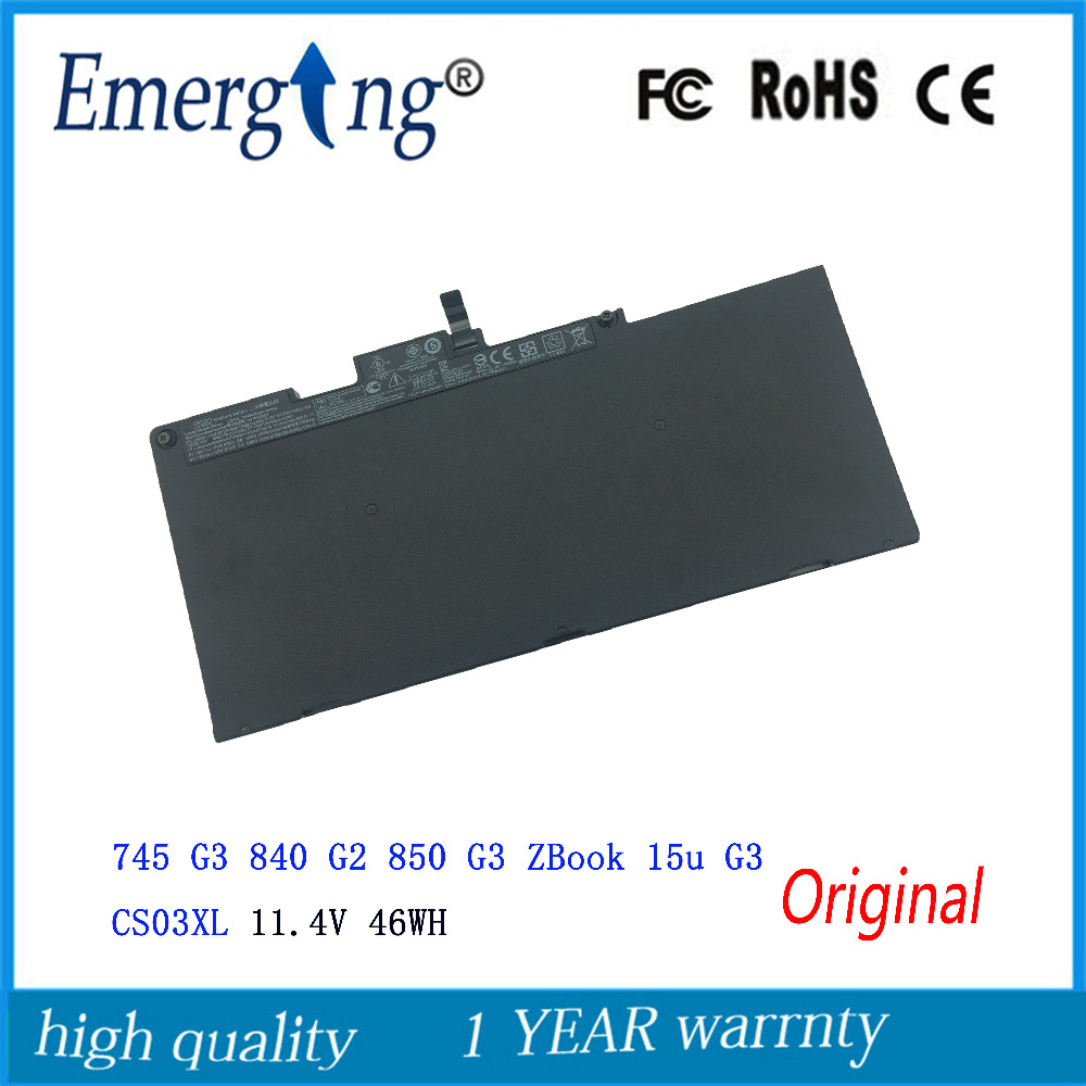 11.4V 46WH New Original Laptop Battery for HP ZBook 15u G3 745 G3 840 G2 850 G3 CS03XL original laptop batteries for zo04xl hstnn cs8c zbook studio g3 v8n23pa