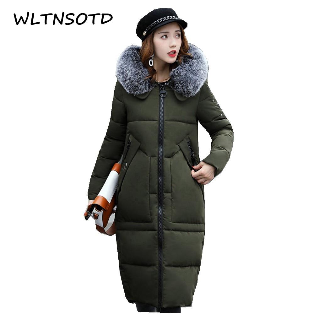 2017 autumn winter new women knee long Slim fashion big fur collar cotton parka jacket female warm tide Thicker coat