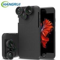 HangRui 360 Degrés Rotation 4 En 1 Fish Eye Grand Angle Macro Camera Lens Téléphone Cas Pour iPhone 6 6 s/6 6 s Plus/7 7 Plus Fundas