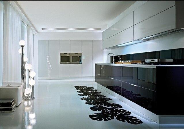2017 Nuevo estilo moderno alto brillo lacado blanco gabinetes de cocina Nuevo diseño personalizado muebles de cocina