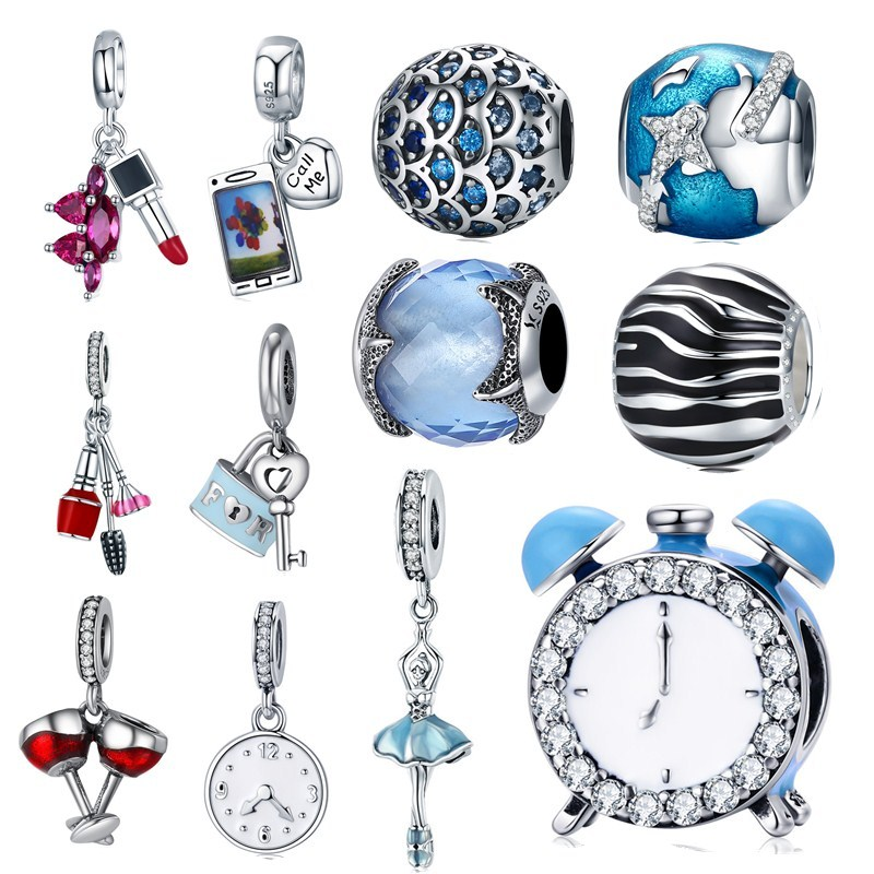 Lock Charms Plane-Beads Jewelry-Making Pandora Bracelet Starfish Heart-Key Silver 925