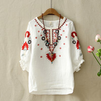 dfcdbfbb90ab96 Ethnic Vintage White Floral Embroidered Blouses For Women Loose Half  Lantern Sleeve Shirt Women Cotton Linen