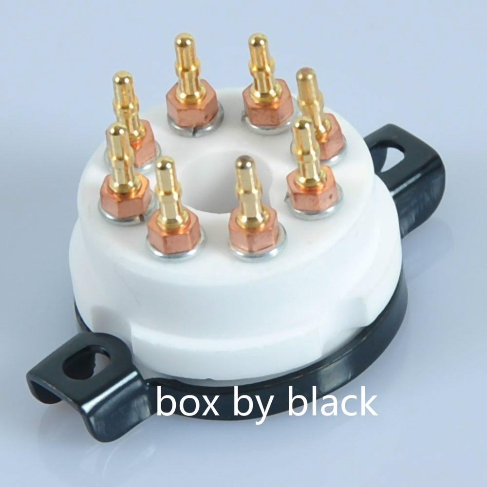 Mosiądz 8 Pin Octal rura ceramiczna gniazdo dla KT88 EL34 GZ34 6V6 6550 350B pozłacane w Akcesoria do słuchawek dousznych od Elektronika użytkowa na AliExpress - 11.11_Double 11Singles' Day 1