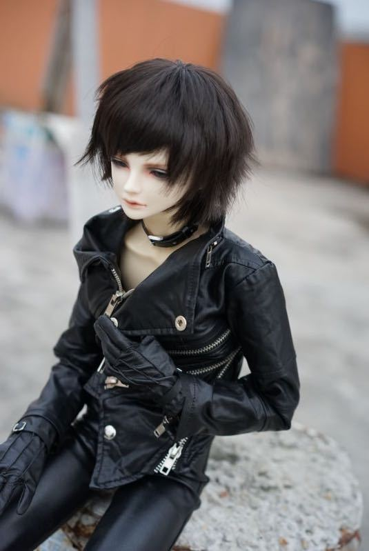 Cool Multi-way Zipper Oblique Buckle Motorcycle Leather Jacket for BJD Doll 1/3, SD17,Uncle,SSDF,Spirit Ver.2 Doll Clothes CM3 fashion bjd doll retro black linen pants for bjd 1 4 1 3 sd17 uncle ssdf popo68 doll clothes cmb67