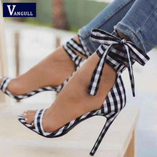 Vangull Scottish Plaid High Sandals 2019 New Summer Women Cross-Tied Heels  Ladies Ankle Strap Lace Up Party Bow High Shoes 44dc1382b8a9
