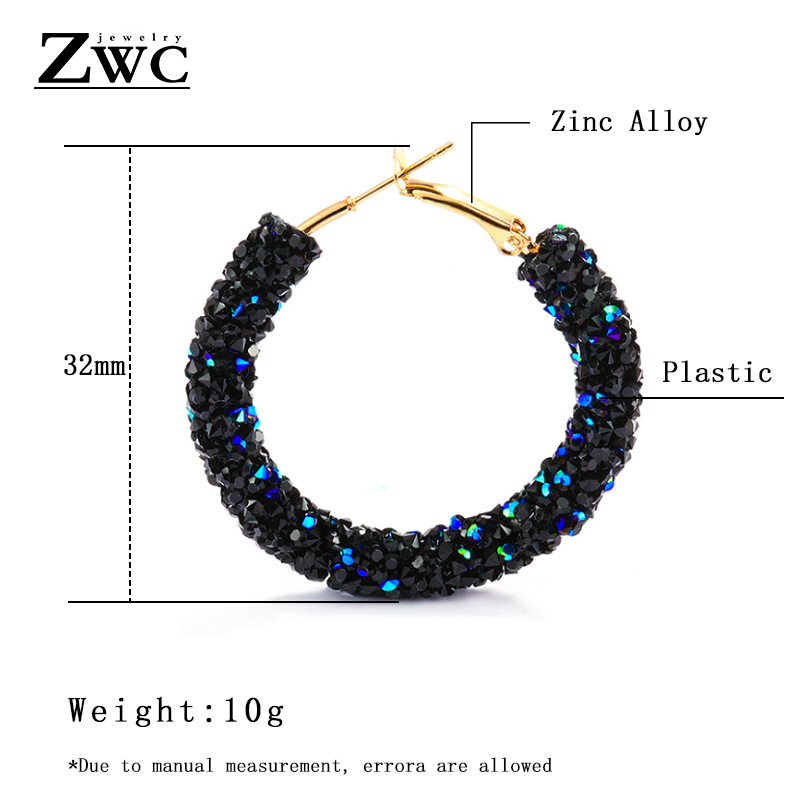 ZWC Vintage Korean Big Earrings for Women Female Fashion Gold Cubic zirconia Drop Dangle Earring Geometric