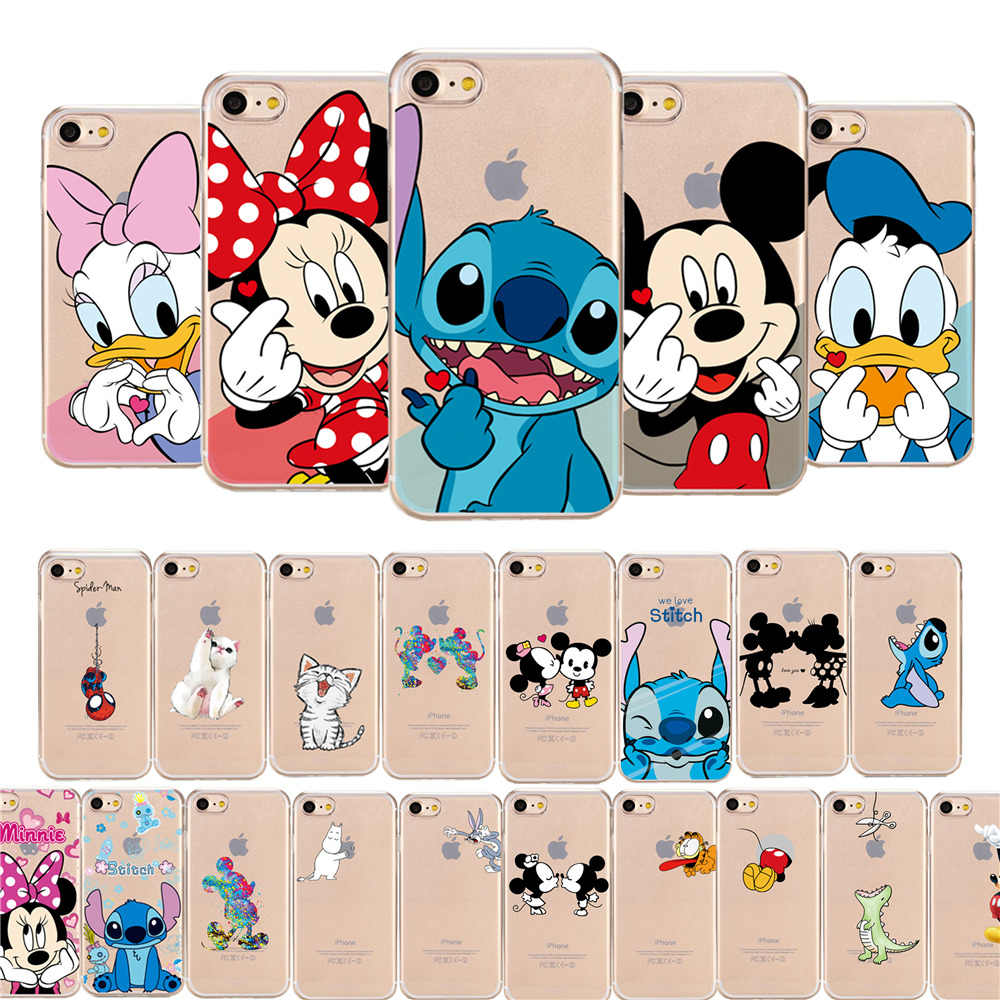JeKacci Cute Mickey Cartoon Phone Case for iPhone 6 6s 7 8 plus X Xr Xs Max Case Silicone Soft TPU Back Cover for iPhone 7 Case