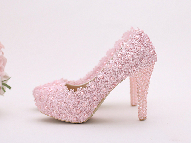 Women Fashion Sweet White red Flower Lace Platform High Heels Pearls rhinestone Wedding Shoes Bride Dress Shoes