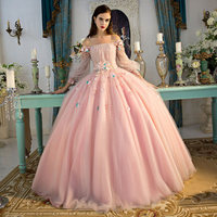 100%real photo luxury light pink flower lace beading major embroidery Bateau medieval dress lantern sleeeve gown princess dress