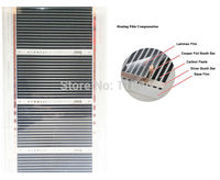 Bulgaria envío gratis 14 metros cuadrados película de calefacción infrarroja, película de calefacción de suelo AC220V 50 cm x 28 m con 16 abrazaderas