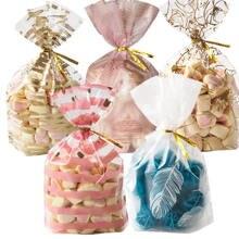 50 pçs saco de plástico pluma páscoa festa de aniversário doces e doces presente presente natal aniversário embrulho