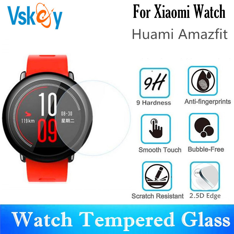 VSKEY 100PCS Tempered Glass For Xiaomi Huami Amazfit Round Smart Watch Screen Protector Protective Film