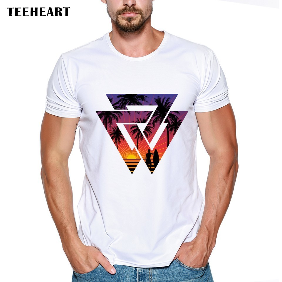 2017 Men's Fashion Summer Geometric Beach Sunset Design T Shirt Casual Male Tops Holiday Printed Hipster Style Tees