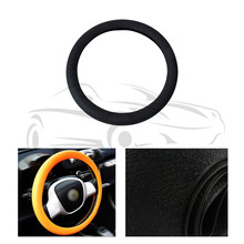 Car Auto Leather Texture Soft Silicone Steering Wheel Cover 36cm 37cm 38cm 39cm 40cm Black For VW For Audi For Ford For Honda