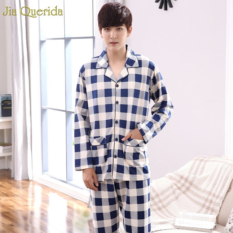 Pajamas Set For Men 2019 Autumn Winter Home Leisure Suits 100% Cotton Luxury Men Clothing Long Sleeves Loungewear Night Pajamas