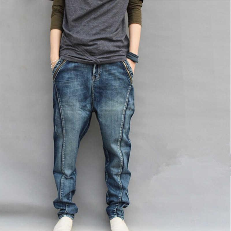 2019 Горячие мужские джинсовые шаровары плюс размер брюки мужские хип-хоп брюки джинсы мужские узкие джинсовые брюки мужские свободные брюки 6XL 7XL
