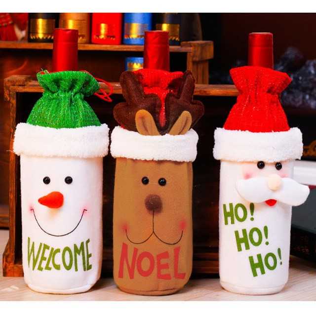 Christmas Wine Bottle Decor Set Santa Claus Snowman Deer Bottle Cover Clothes Wine Bottle decorations For New Year Dinner Party