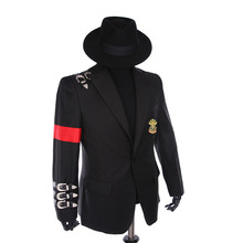 Custom Made New MJ Professional Cosplay MICHAEL JACKSON Costume Retro Punk Style Black Jacket Suit-badge en zwarte hoeden