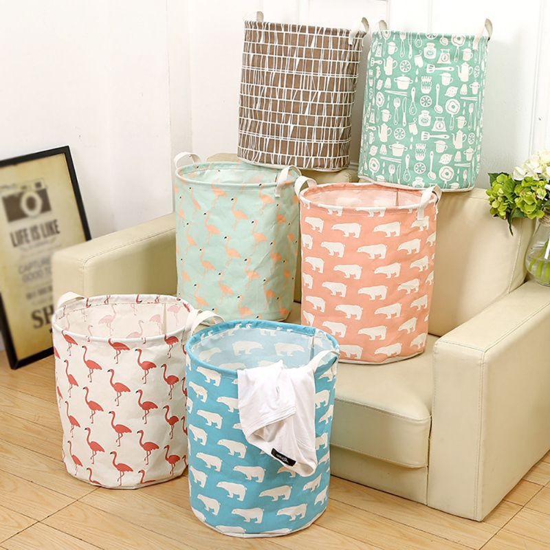 Cute Animals Pattern Laundry Baskets Foldable Cloth Storage Basket Bathroom Large Size Laundry Baskets Home Storage Supplies