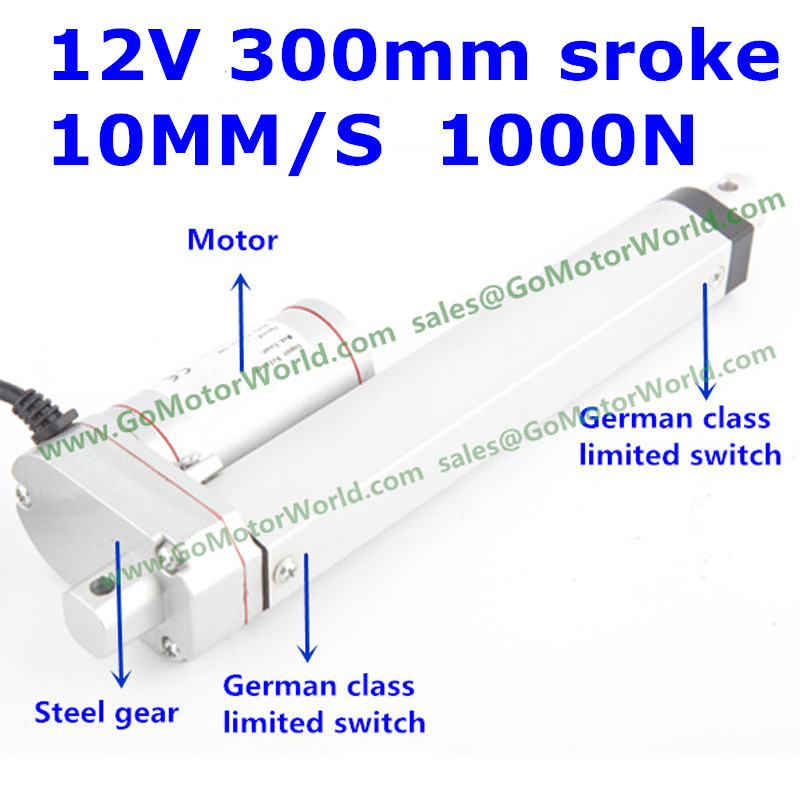 waterproof 12V 300mm stroke 1000N 100KG 220LBS load 10mm/s speed electric linear actuator LA10DB free shipping