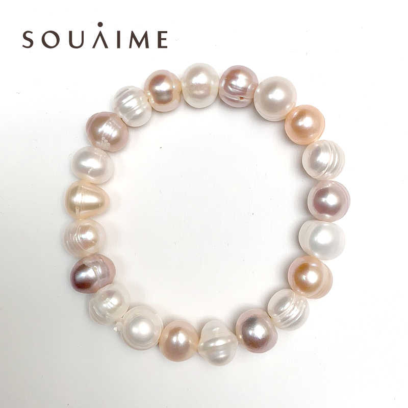 100% Natural Freshwater Pearl Bracelet Charm 8-11mm Purple White Pink Bracelet For Gift For Women