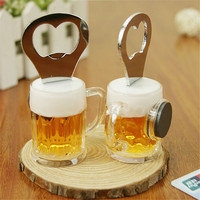 1pcs 2016 New Arrival Unique Creative Versatile Foaming Beer Cup Shape Beer Bottle Opener Bar Tool