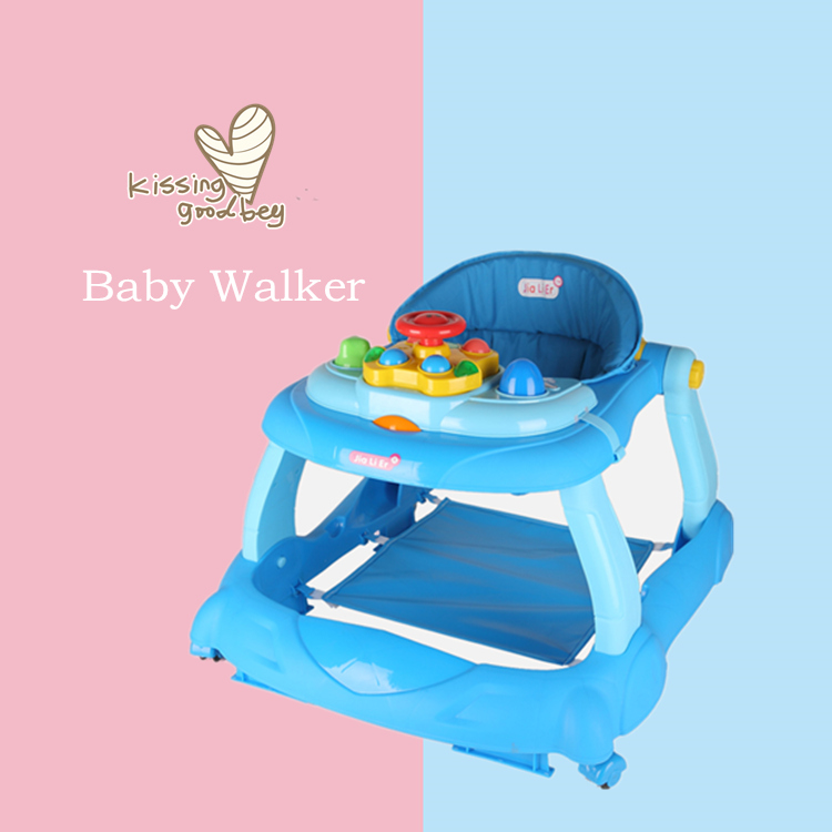 6-18Months Baby Balance First Steps Car Early Educational Music Adjustable Baby Walker Kids Toddler Trolley Sit-to-Stand Walker
