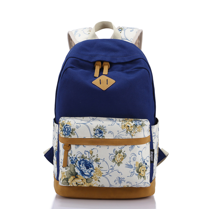 AUGUR Colorful High Quality Matte Leather Vintage School Backpack Bag Girl Laptop Bag Casual Floral Printing Women Backpack