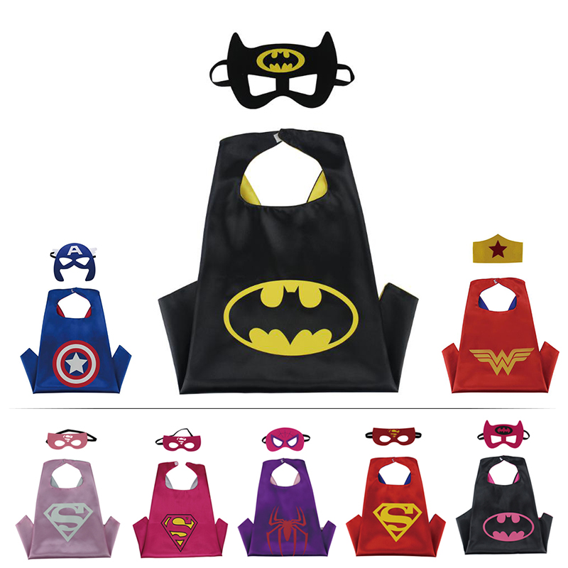Newest Designs Double Side Superhero 70*70cm Cartoon Cape with Mask for Kids Christmas Halloween Cosplay Capes Prop Costumes
