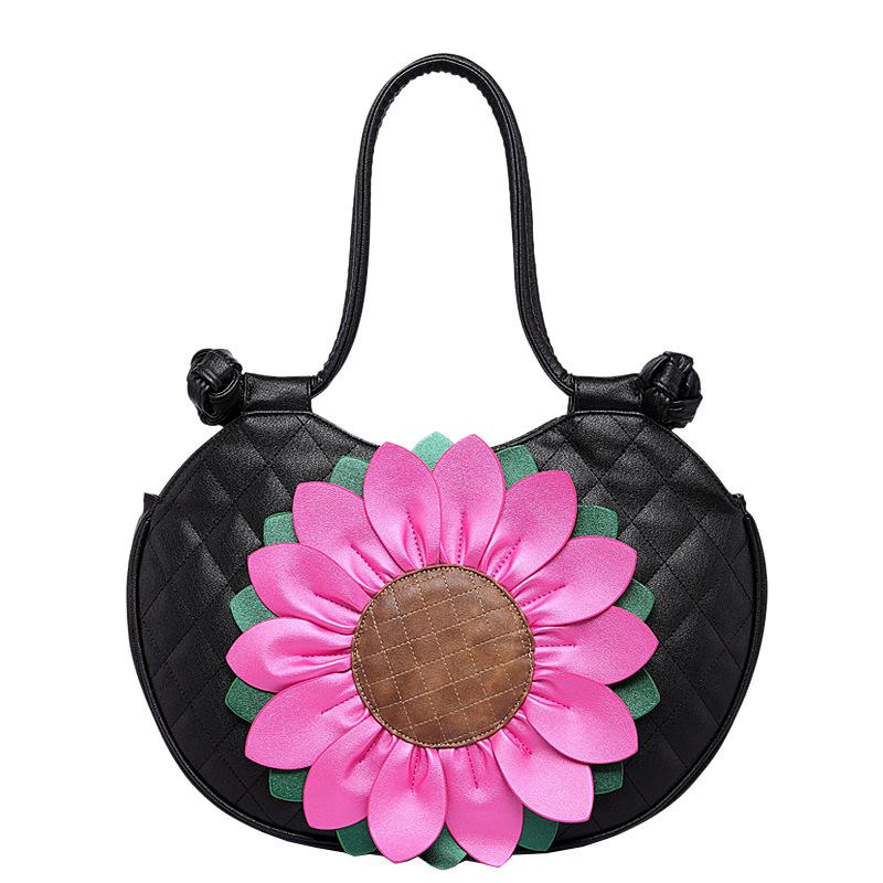 Qiao Duo Ethnic Sunflower PU leather women shoulder bag Sweet Lady Leisure joker top-handle bags circular women 39 s handbags sweet women s floral embroidered cold shoulder crop top