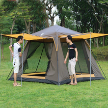 South Korea pattern 5 -6 people double layer four door ventilation sunshade tent & Buy tent pattern and get free shipping on AliExpress.com