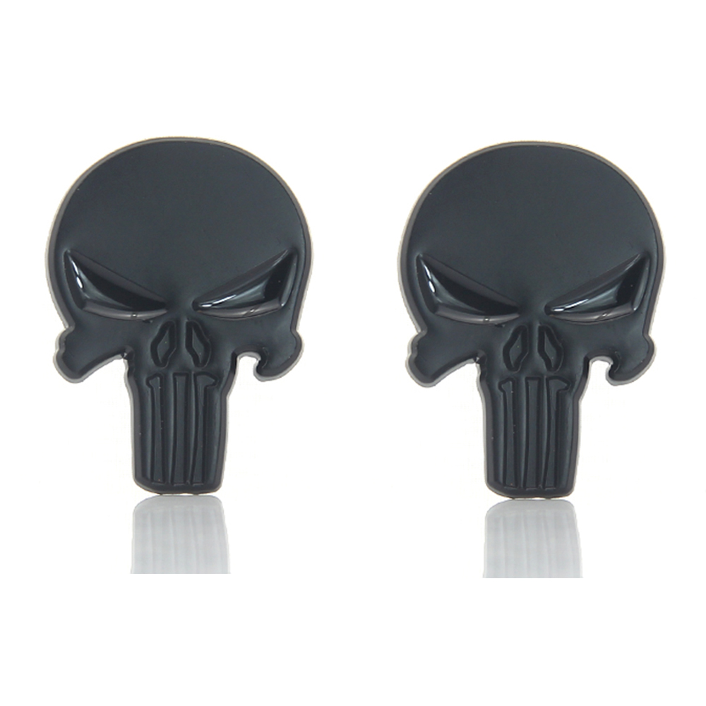 2pcs Car Style Accessories Sticker 2pcs Car Body Stickers Black Punisher Skull Skeleton Emblem Badge Decal FOR BMW VW #6403*2
