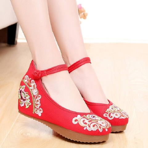 Women Canvas Increasing Height Ankle Strap Spring Autumn Shoes China Style Vintage Embroiders Wedges Heels Lady Shoes 20180907 Multan