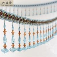 6M Lot 11cm Wide Crystal Lantern Beads Curtain Lace Accessories Drapery Tassel Fringes Trim Ribbon DIY