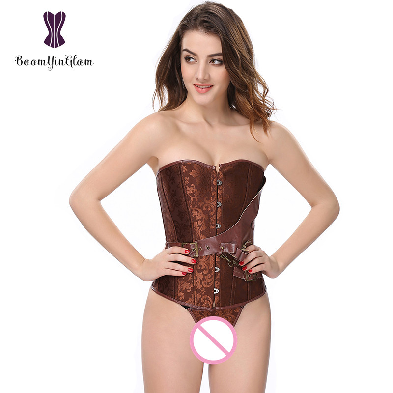 High Quality Jacquard Women   Bustiers   Waist Trainer Shapewear Body Shaper Brown Steampunk Vintage   Corset   907#