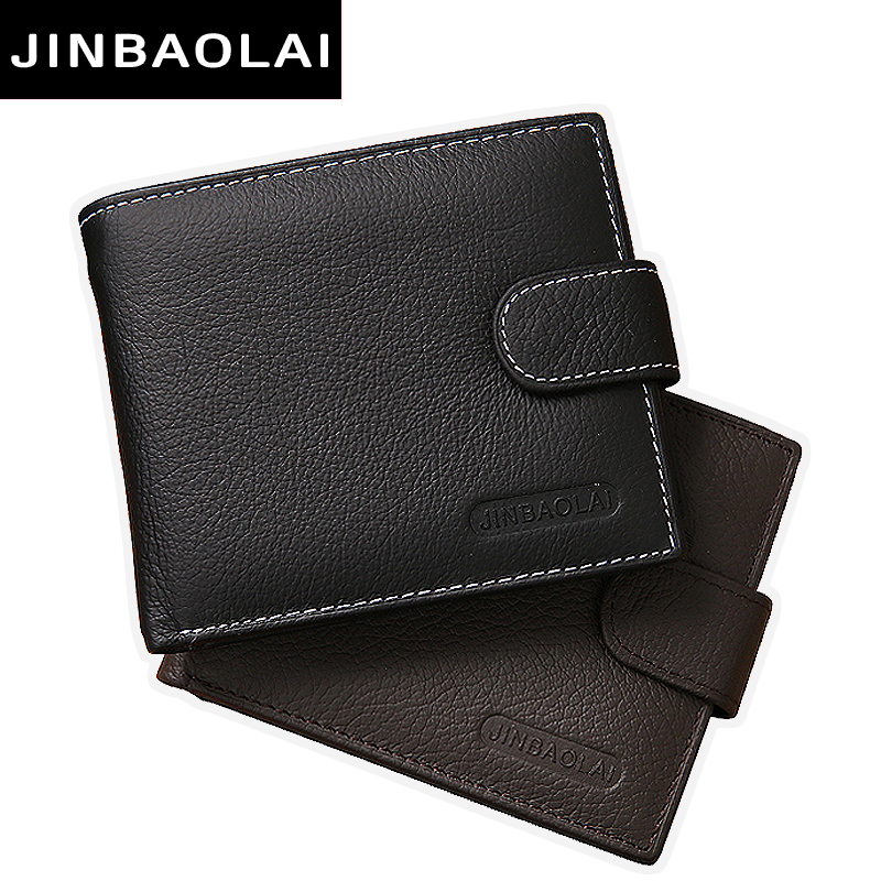 JINBAOLAI Genuine Leather Men Wallets Purse Money Bag Fashion Male Wallet Card Holder Coin Purse Wallet Men carteira Card Holder new wallet short men wallets genuine leather male purse card holder wallet fashion zipper wallet coin purse pocket bag free ship