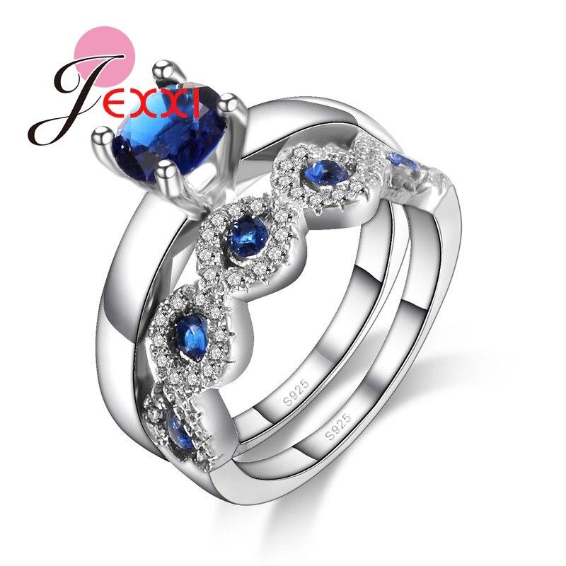 JEXXI новый синий кубического циркония свадебные кольца, наборы для Для женщин Мода полос 925 серебро Обручение Promise Ring Set