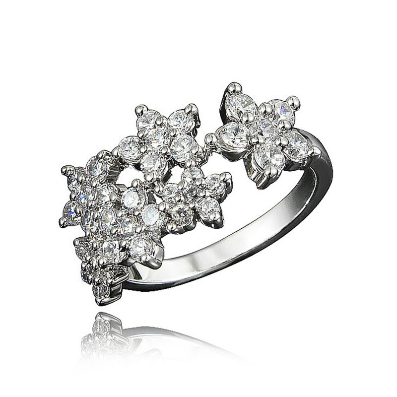 SANTIYAGO Flower Pattern Fashion Elegant Ring Wedding Dress Jewelry WomenS Gold Plating 3A Zircon Promise Ring Geometric