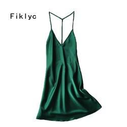 Fiklyc Марка спинки пикантные женские ночные сорочки Лето рукавов Атласные бретели сорочки Ночная рубашка в тонком стиле v-образным вырезом