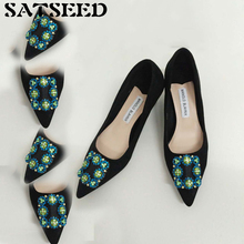 Spring Autumn Female Wedding Shoes Middle High-heeled Pumps Fine Pointed Toe Diamond Flock Shoes Crystal Fahsion New