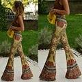 Брюки женские Цветочные Печатные Клеш Широкую Ногу Flare Stretch Мода Цветок Высокая Талия Boho Брюки
