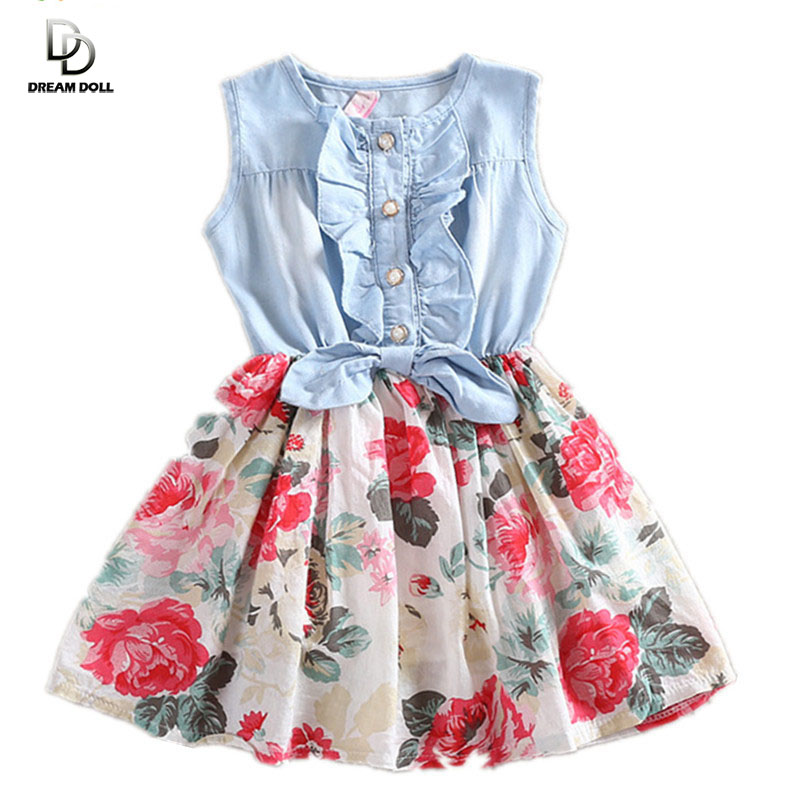 Girls Dress Summer 2015 Girl Flower Dress Baby Sleeveless Dresses Children Denim Dresses Kids Party Princess Clothes